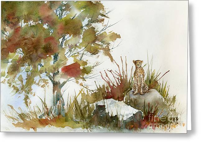 Large Cats Greeting Cards - Quiet Watch Greeting Card by Amy Kirkpatrick