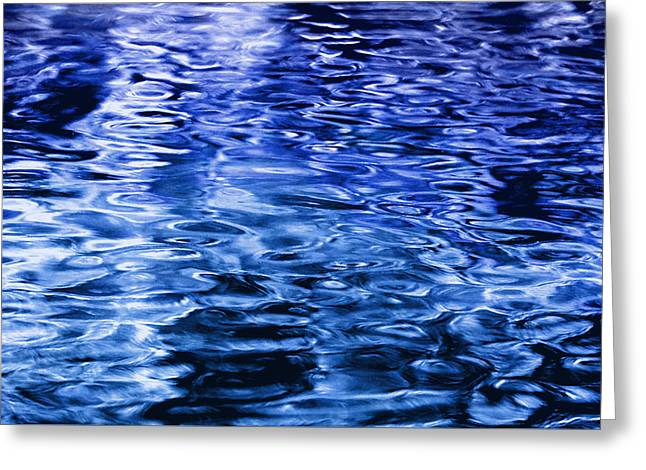 Abstract Waves Greeting Cards - Quiet Waters - Blue Greeting Card by Richard Andrews