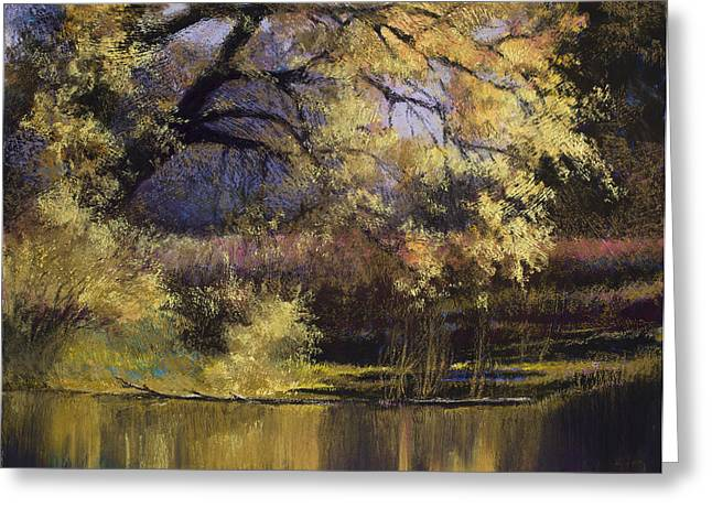 Rivers In The Fall Paintings Greeting Cards - Quiet Waters Greeting Card by Vicky Russell