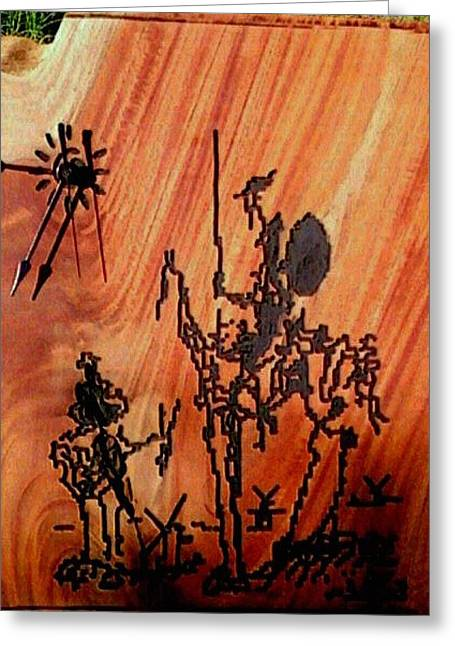 Clock Reliefs Greeting Cards - Quijote y Sancho Greeting Card by Calixto Gonzalez