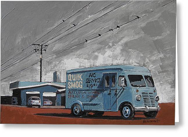 Road Trip Paintings Greeting Cards - Quik Smog Greeting Card by Steve Beaumont