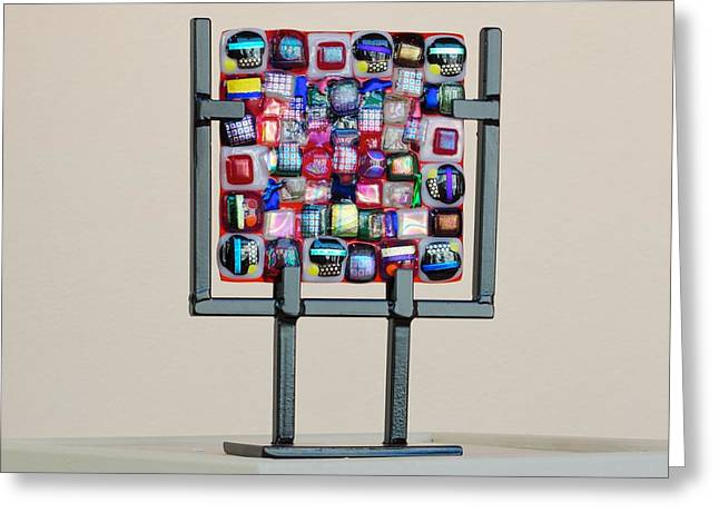Fused Glass Art Greeting Cards - Quilt Greeting Card by Mark Lubich