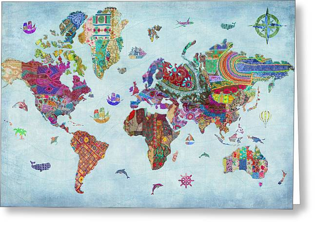 Colorful Quilts Greeting Cards - Quilted World Map Greeting Card by Aimee Stewart