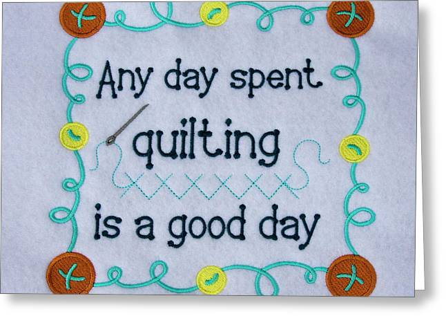 Quilting Sign Greeting Card by Sally Weigand