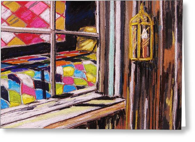 Brown Toned Pastels Greeting Cards - Quilts in the Window Greeting Card by John  Williams