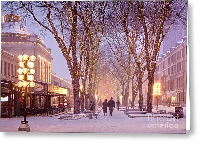New England Winter Greeting Cards - Quincy Market Stroll Greeting Card by Susan Cole Kelly