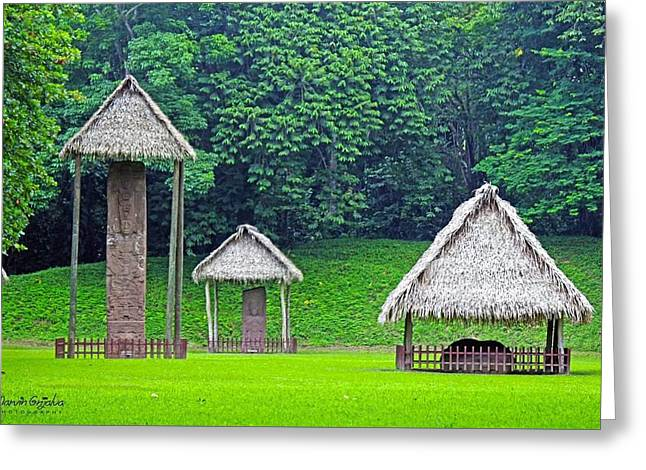 Civilization Pyrography Greeting Cards - Quirigua National Park at Guatemala Greeting Card by Marvin Grijalva