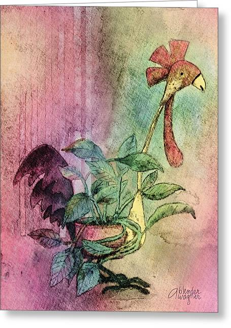 Quirky Rooster Planter Greeting Card by Arline Wagner