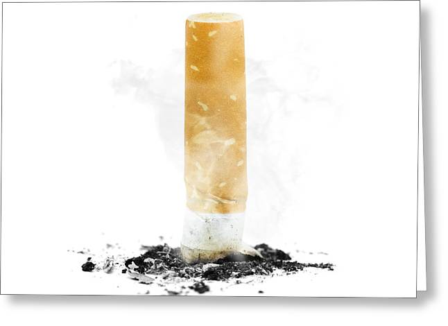 Take-out Greeting Cards - Quit smoking with stubbed out cigarette on white Greeting Card by Ryan Jorgensen