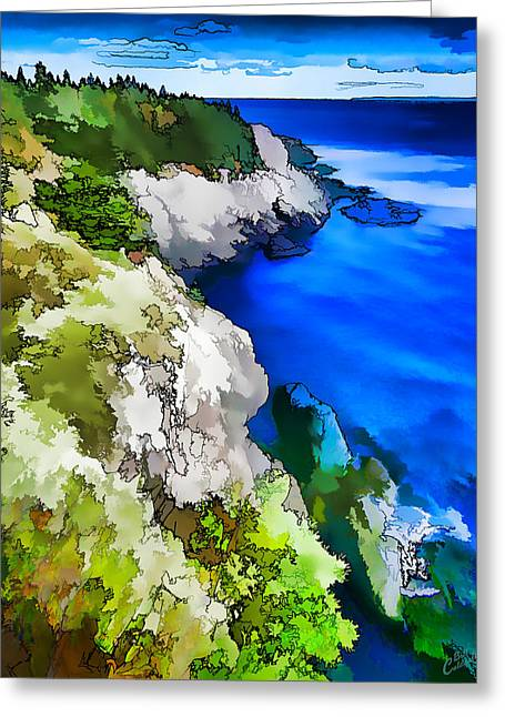 New England Coast Line Greeting Cards - Quoddy Coast - Abstract Painterly Greeting Card by Bill Caldwell -        ABeautifulSky Photography