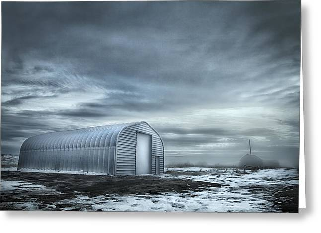 Ghostly Barn Greeting Cards - Quonset Hut Greeting Card by Theresa Tahara