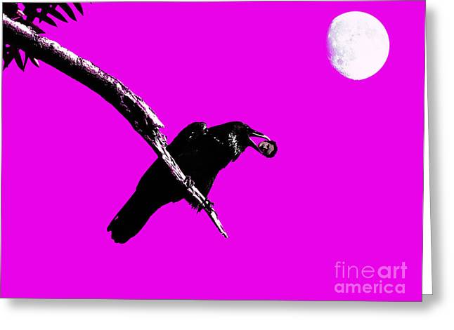 Mystic Art Greeting Cards - Quoth The Raven Nevermore . Magenta Greeting Card by Wingsdomain Art and Photography