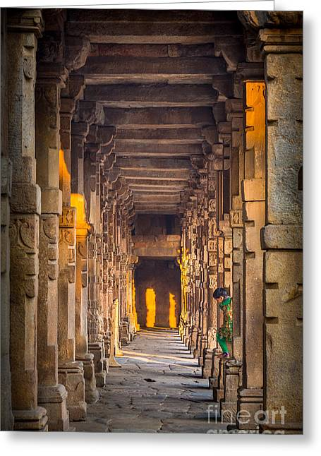 Native Architecture Greeting Cards - Qutab Minar Hidden Boy Greeting Card by Inge Johnsson