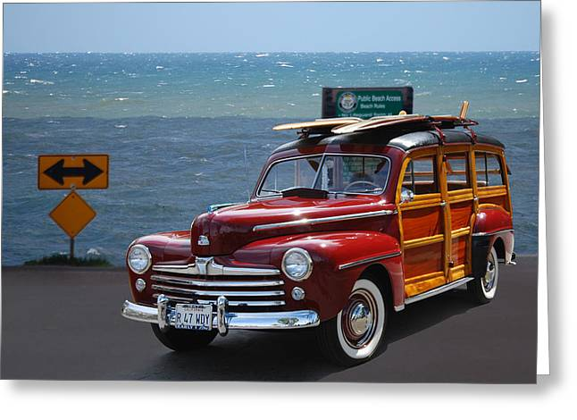 Cruisin For A Cure Greeting Cards - R 47 Woody Greeting Card by Bill Dutting