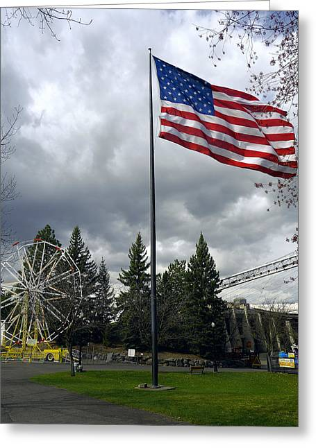 Spokane Greeting Cards - R F P United States Flag Greeting Card by Daniel Hagerman