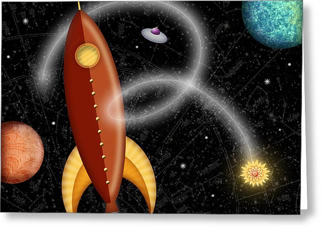 Outer Space Mixed Media Greeting Cards - R is for Rocket Greeting Card by Valerie   Drake Lesiak