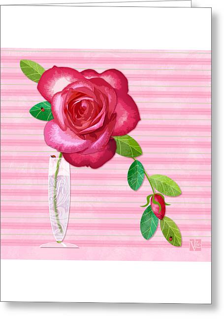 R Is For Rose Greeting Card by Valerie Drake Lesiak