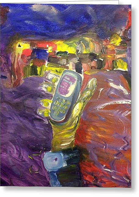 Cellphone Paintings Greeting Cards - R U There? Greeting Card by Shawn PIKUL