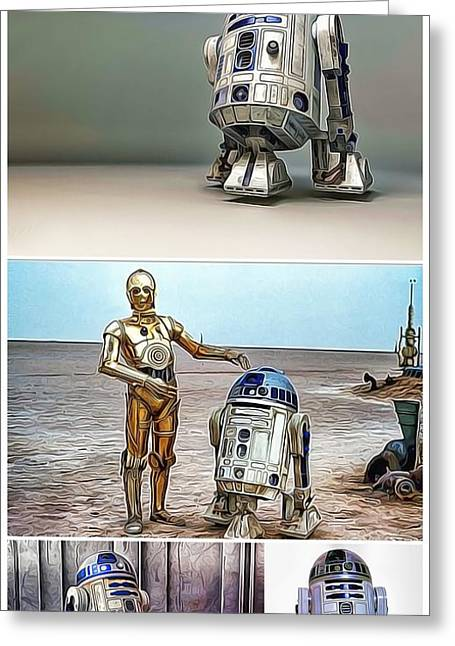Fandom Greeting Cards - R2D2 and C3PO  Greeting Card by Nenad  Cerovic