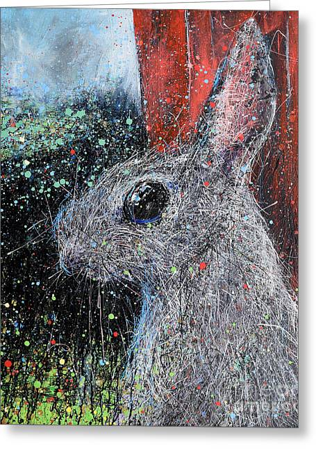 Rabbit And Barn Greeting Card by Michael Glass