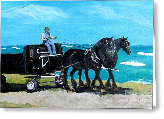 Horse Pulling Wagon Greeting Cards - Rabbit Bay Percherons Greeting Card by Ida Knuuttila