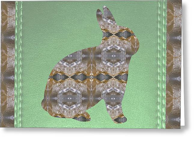 Maltese Mixed Media Greeting Cards - RABBIT BUNNY Khargosh made of Crystal Stone Leather Green Background Stitched look Greeting Card by Navin Joshi