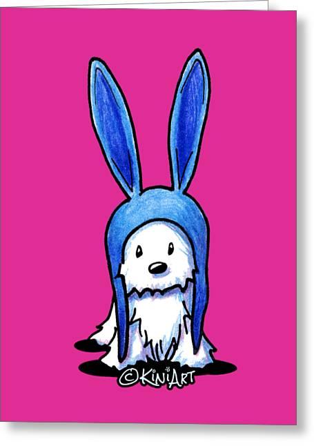 Rabbit Ears Westie Greeting Card by Kim Niles