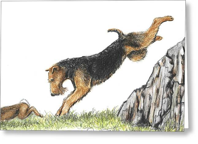 Painted Puppies Drawings Greeting Cards - Rabbit hunting Greeting Card by Daniele Trottier