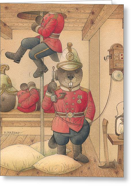 Beaver Drawings Greeting Cards - Rabbit Marcus the Great 14 Greeting Card by Kestutis Kasparavicius