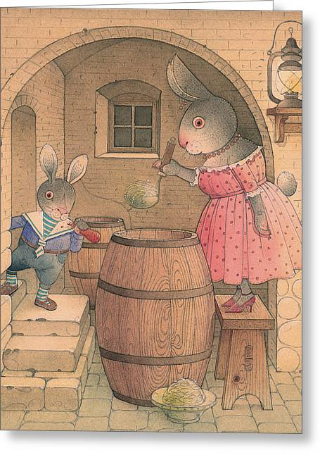 Cellar Drawings Greeting Cards - Rabbit Marcus the Great 20 Greeting Card by Kestutis Kasparavicius