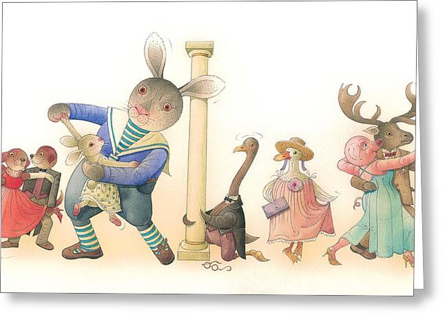 Animals Love Drawings Greeting Cards - Rabbit Marcus the Great 24 Greeting Card by Kestutis Kasparavicius