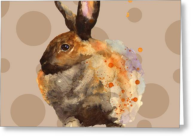 Rabbit Greeting Cards - Rabbit Painting Greeting Card by Alison Fennell