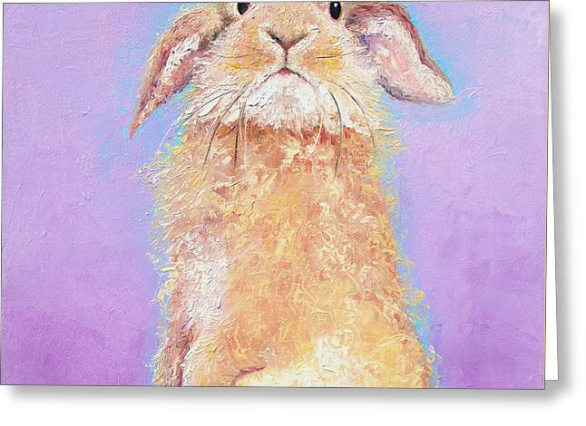 Country Cottage Greeting Cards - Rabbit Painting - Babu Greeting Card by Jan Matson