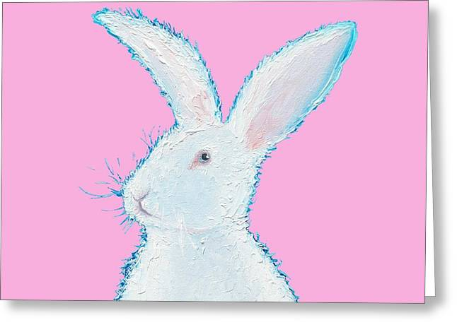 Animal Art Greeting Cards - Rabbit Painting - White bunny on pink Greeting Card by Jan Matson