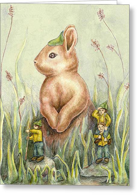 Rocks Drawings Greeting Cards - Rabbit Scout Greeting Card by Thacia Langham