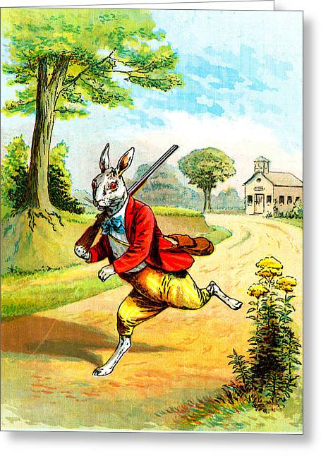 Victorian Greeting Cards - Victorian Rabbit with Gun Greeting Card by Vintage Art