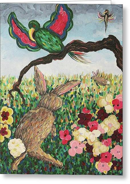 Suzanne Molleur Paintings Greeting Cards - Rabbit with Broken Leg Greeting Card by Suzanne  Marie Leclair