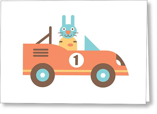 Rabbit Racer Greeting Card by Mitch Frey