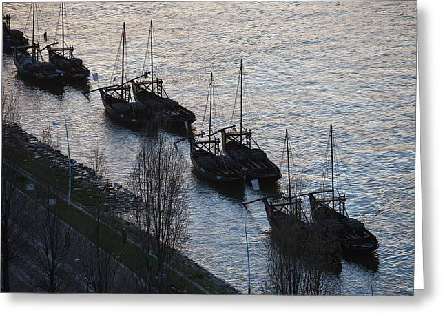 Wooden Ship Greeting Cards - Rabelo Boats on Douro River in Portugal Greeting Card by Artur Bogacki