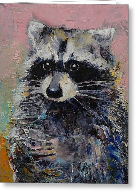 Raccoon Paintings Greeting Cards - Raccoon Greeting Card by Michael Creese