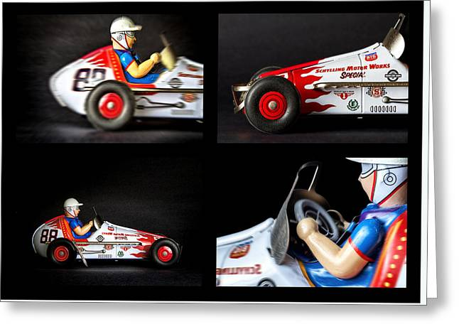 Metal Skill Greeting Cards - Race car collage Greeting Card by Rudy Umans