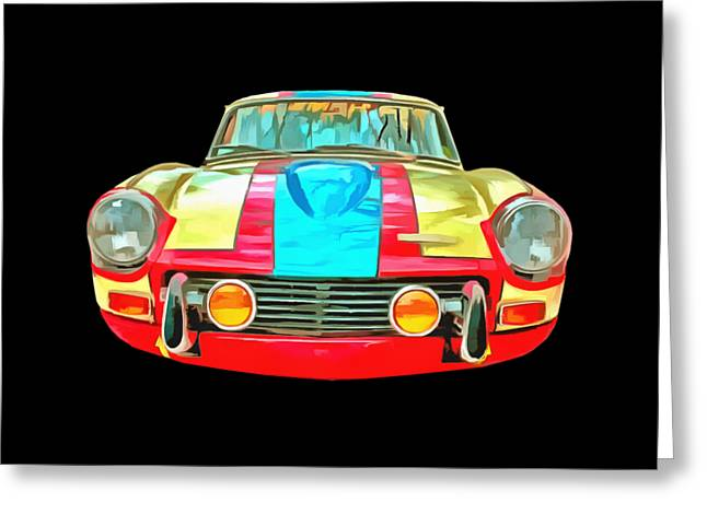 Blue Shirt Greeting Cards - Race Car T-shirt Greeting Card by Edward Fielding