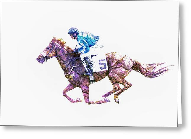Race Horse Greeting Cards - Race Horse Greeting Card by Larry Helms