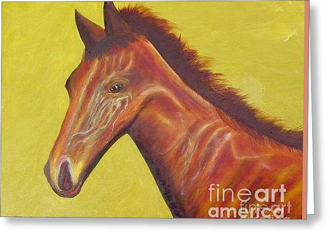 Belmont Stakes Greeting Cards - Race Horse Portrait - American Pharoah Greeting Card by Anthony Morretta