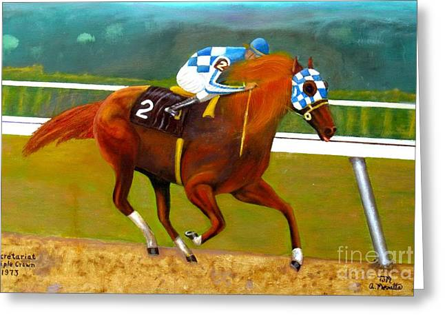 Horse Greeting Cards - Race Horse Secretariat Triple Crown Winner 1973 Original Oil Painting  Greeting Card by Anthony Morretta