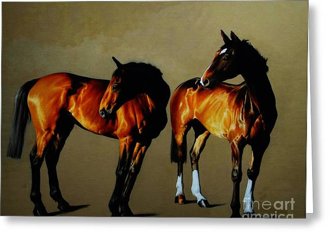 Race Horse Greeting Cards - Race Horses Greeting Card by Celestial Images