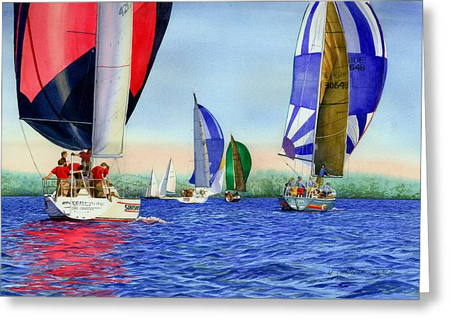 Long Island Sound Greeting Cards - Race Night Colors Greeting Card by Marguerite Chadwick-Juner