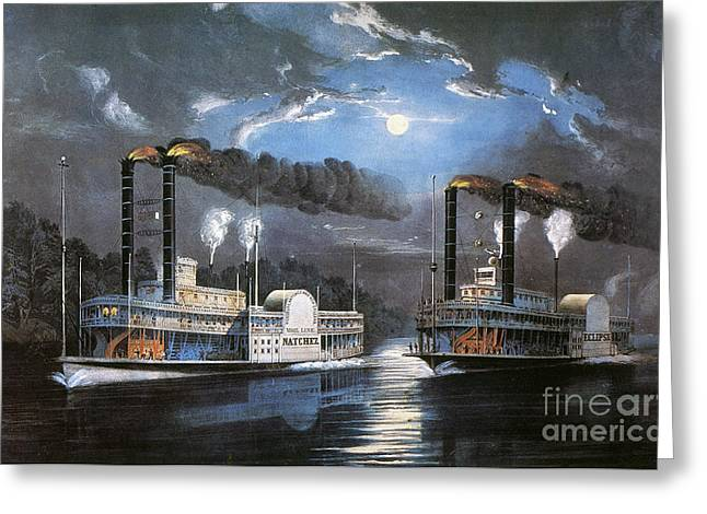 Paddle Wheel Greeting Cards - Race On Mississippi, 1860 Greeting Card by Granger