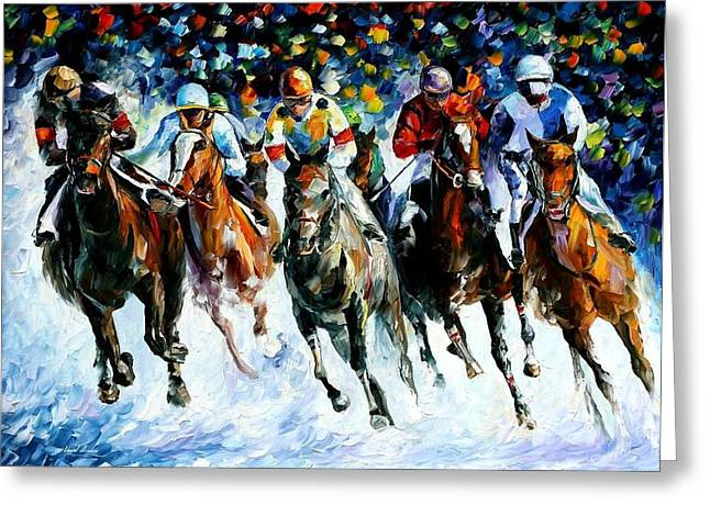 Race On The Snow Greeting Card by Leonid Afremov