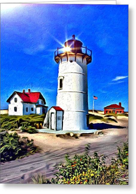1874 Greeting Cards - Race Point Light Greeting Card by Digital Designs